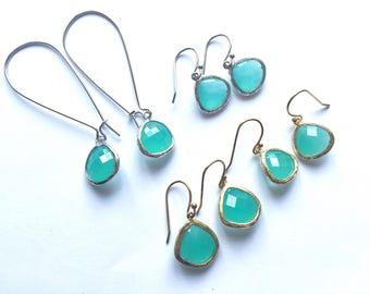 Turquoise glass earrings - aqua earrings, faceted glass earrings, turquoise drop earrings, aqua glass sparkle, choice of styles