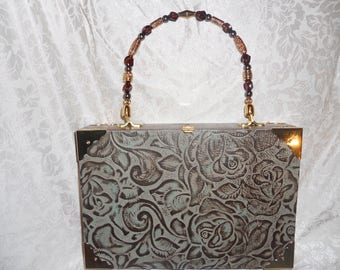 Cigarbox Purse, Floral Embossed Leather, Tina Marie Purse, Vintage Cigar Box