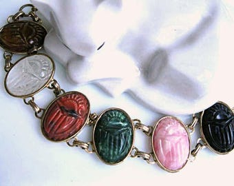 Scarabs Links Bracelet, Multi-Color Big Carved Molded Ovals, Mixed Gemstone Colors, Detailed Egyptian Beetle Oversized Design