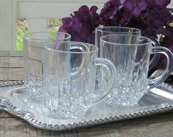 Set of 4 Arcoroc Clear Cut Glass Ice Tea or Coffee Mugs, Barware, Glassware, Vintage, Hollywood Regency