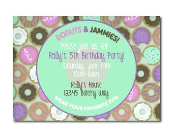 """Donuts & Pajamas Child's Birthday Party Invitation   4x6"""" or 5x7""""   Theme Party   Kids   Children   Toddlers   Slumber Party   PJs   Circles"""