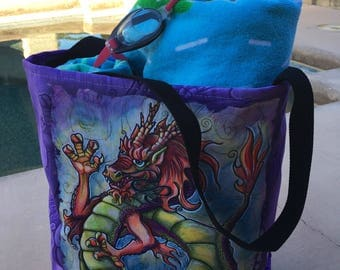 Canvas Tote, Beach Tote, Canvas Bag, Chinese Dragon, Custom Tote, Artist Tote, Student Tote, Womens Tote, Work Tote, Everyday Bag, Yoga Bag