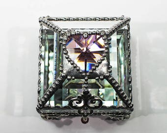 Ring Box, Keepsake Box, Heart Box, stained glass box, stained glass,engagement ring box, wedding ring box, ring display , birth stone box