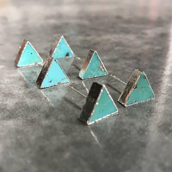 Turquoise triangle studs, boho jewelry, turquoise earrings, turquoise jewelry, boho wedding, turquoise studs, birthstone jewelry