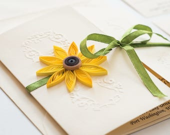 Sunflower Wedding Invitation Gatefold Invite Elegant Rustic Stationery