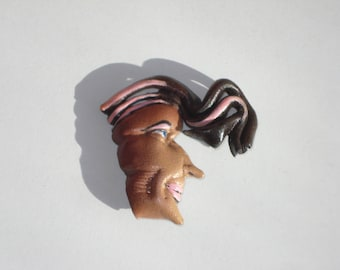 Vintage Leather Face Pin - Crazy Hair Head Brooch Jewelry - Retro