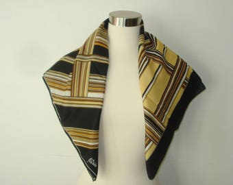 Vintage Square Brown and Tan Check Scarf - Patricia Dumont - Bold Pattern -  Fall  Scarves - Womens Accessories 1970s