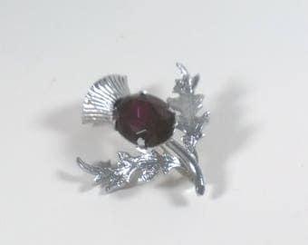 Vintage Scottish Brooch - Amethyst Crystal Thistle Pin - Celtic Costume Jewlery