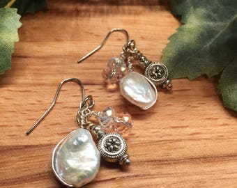 Earrings, White Coin pearl wire wrapped, Lt Pink & Clear Rondell Crystals, Free Shipping, Made by Hand, USA,  #61