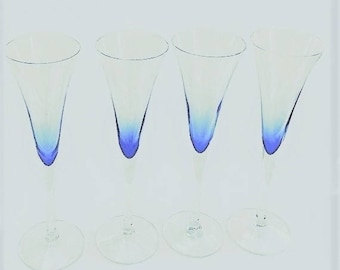 Vintage Crystal Champagne Flutes, set of 4 toasting stemware clear to cobalt, tall wine glasses, barware glassware
