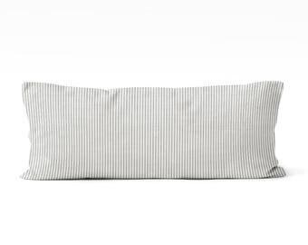 farmhouse body pillow cover, gray ticking body pillow cover 20x54 inch pillow cover,farmhouse bedroom, long pillow cover, master bedroom