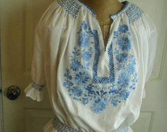Cute Peasant Style Blouse, Loads of Embroidery and Smocking, Cotton Fabric, Summer Blouse, Size 12-14