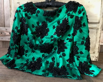 1960s Black Beaded Jacket, Emerald Green Blouse, Mother of the Bride, Mid Century Formal Wear