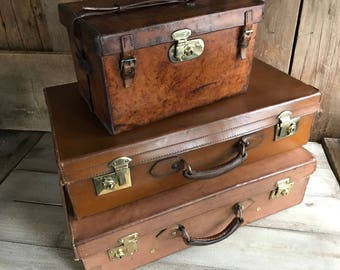 1 Leather Suitcase, Made in England, Brass Locks, Chestnut Brown, Leather Handle, Stage Props