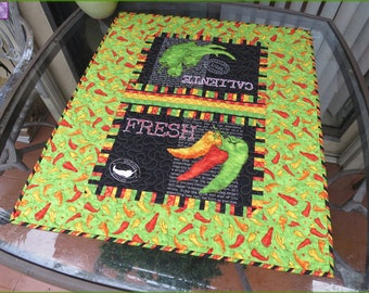 Quilted Caliente Peppers Table Topper Quilt, Table Decor, Lime Green Black 759