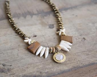 Statement bib necklace, Boho beaded necklace, Tribal statement necklace,Spike necklace, Rose quartz pendant necklace, Designer necklace