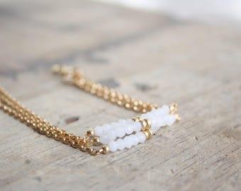 Delicate Moonstone bracelet, Delicate beaded bracelet, Gold filled gemstone bracelet, Layering bracelet, Dainty white gemstone bracelet
