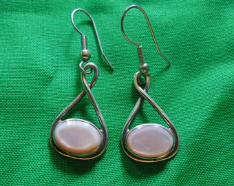 Vintage Silver Earrings with Pink Stones, Stamped Sterling, Jeweler OTT, Hook Type, Dangle