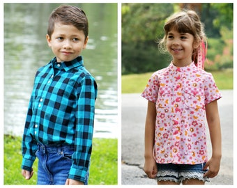 Classic button down shirt PDF sewing pattern - The 'Cool Shirt' for boys and girls, toddlers and trendy teens