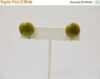 On Sale Vintage Olive Green Bakelite Button Style Earrings Item K # 1508