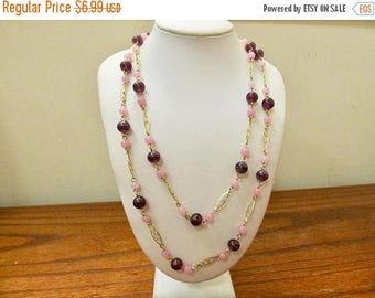 On Sale Vintage Pink and Purple Glass Beaded Station Necklace Item K # 720