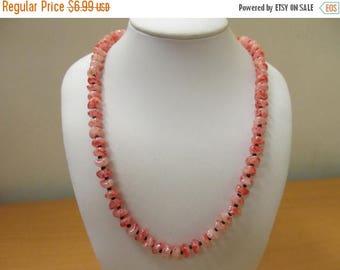 ON SALE Vintage Freeform Coral Plastic Beaded Necklace Item K # 1345