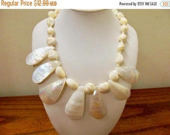 ON SALE Vintage Polished Natural Mother of Pearl Necklace Item K # 2950