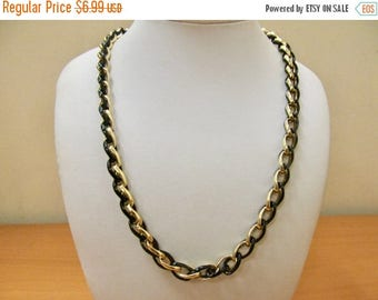 ON SALE Vintage Black Enameled and Gold Tone Chain Necklace Item K # 2216