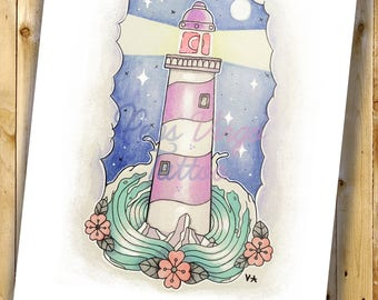 Lighthouse  - Hand Signed Print Dina 4 29'7x21cm // 8x11'' inches