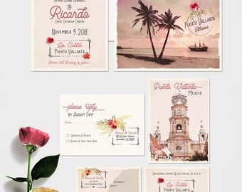 Destination wedding invitation Mexico Puerto Vallarta Traditional Mexican illustrated floral blush pink -  Deposit Payment