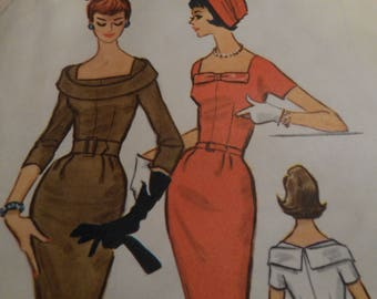 Vintage 1950's McCall's 5096 Dress Sewing Pattern SIze 16 Bust 36