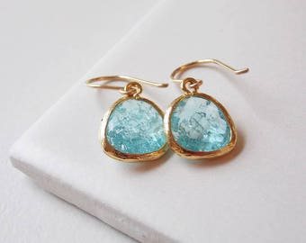 Aqua Pale Blue Crackled Glass Earrings with Handmade Gold Filled Ear Wires. Beach, Wedding, Everyday Jewelry