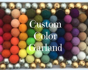 Custom FELT BALL GARLAND with Metallic Gold and Silver Beads, Pom Pom Garland, Wool Felt Balls, Nursery Decor, Birthday Party Decor, Bunting