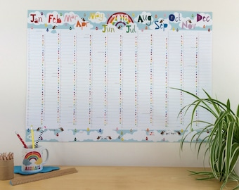 2018 Rainbow Wall Planner, large family wall calendar, rainbow planner, A1 wall planner, 2018 calendar, 2018 planner, uk seller halfpinthome