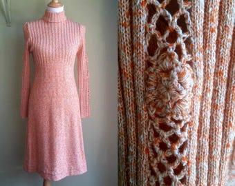 1970s Wenjilli Sweater Dress - Cut Out Sleeves - Pink Heathered - Small / Medium