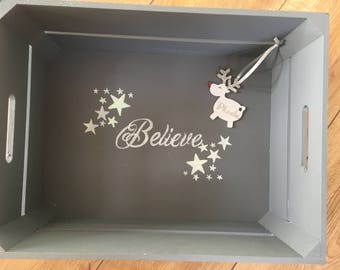 Personalised Christmas Eve Crate or Box with free reindeer decoration.