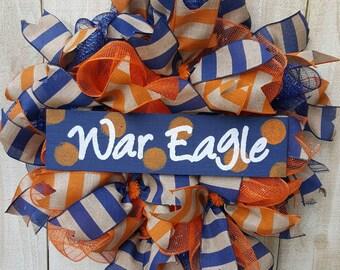 Auburn Doors Wreath, Auburn Wreath, Auburn War Eagle Football Wreath, War Eagle, Football Wreath, Football Door Hanger, Wreath