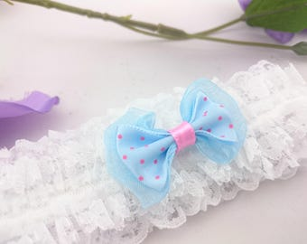 Something blue garter, garter with dots, blue bow garter, garter with a bow, retro garter, polka dots garter, single garter, prom garter