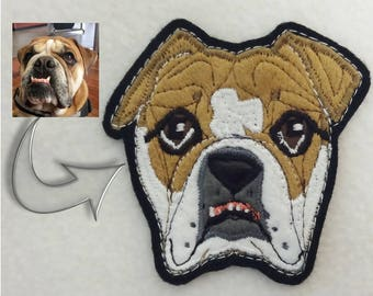 Dog Portrait Patch. Personalized Custom Dog Gift. Textile Art. Bulldog
