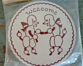 vintage paper coasters / poodles / welcome / housewarming coasters / set of 24 / welcome coasters / vintage decor / vintage barware / NOS