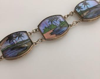 ART DECO Butterfly Wing Bracelet Signed BRASIL Made in Brazil Souvenir Bracelet Sterling Bracelet 1930s Vintage Tropical Scene Palm Trees