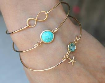 Turquoise Bangle bracelet, 14k Gold Filled stacking bracelet, aquamarine & mini starfish, infinity bracelet, something blue, bridesmaids