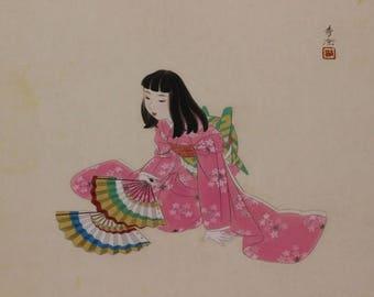 Japanese Hanging Scroll Fine Art Painting Kakejiku Girl in Kimono - 120552a