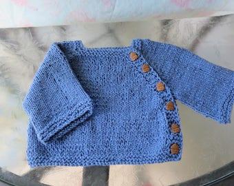 Hand knit blue 100% cotton yarn baby boy or girl cardigan