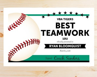 Editable Baseball Award Certificates - INSTANT DOWNLOAD PRINTABLE - Green and Black
