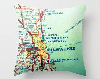Custom Wisconsin Pillow Cover, Milwaukee Wisconsin Pillow Green Bay, Wisconsin Home Wisconsin Gift, Custom Any City Map WI Decorative Pillow