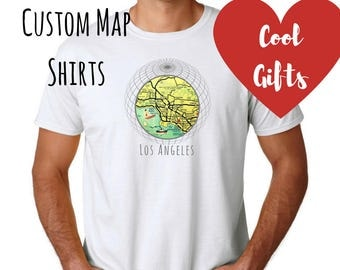 Valentines gift for him, Custom Map T-shirt- Valentines Day Gift, Husband Gift- Travel Gift Him- City Map Gift Men Gifts for Boyfriend Tee