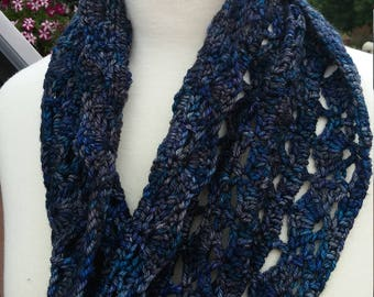Crochet Infinity Scarf/Cowl- Made with Magpie Fibers