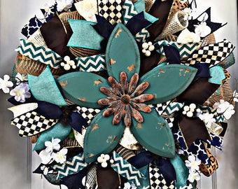 One available! Large!  Shabby Chic Wreath - County Decor - Shabby Chic Decor - Whimsical - Burlap - Mesh Wreath - Spring Wreath