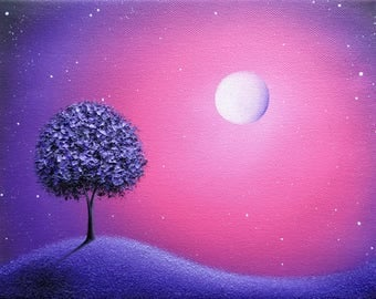 Blossoming Tree at Night Art Print, Whimsical Purple Tree Art, Photo Print of Oil Painting, Dreamscape, Purple Night, Starry Sky Landscape